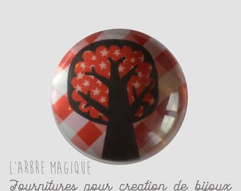 2 cabochons craft tree 3 glass 20 mm N22