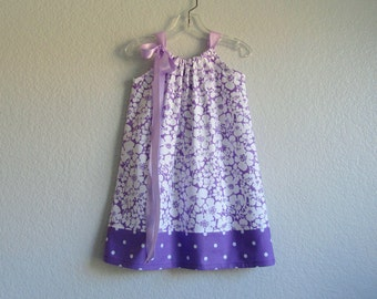 LAST ONE! Little Girls Purple Sun Dress - White Flowers on Purple and Polka Dots - Toddler Girls Pillowcase Dress - Size 12m, 2T, 3T or 4T