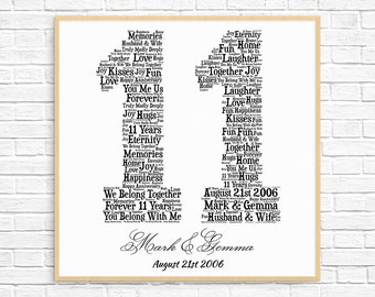 PERSONALIZED 11TH ANNIVERSARY Gift ~ Word Art ~ Printable Art ~ Unique Anniversary gift ~ 11 Year Wedding Anniversary Gift ~ Unique Gift