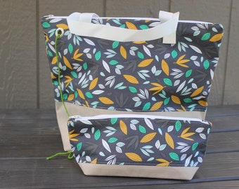 Set of 2   Take a Walk With Me Large project bag and small notion bag