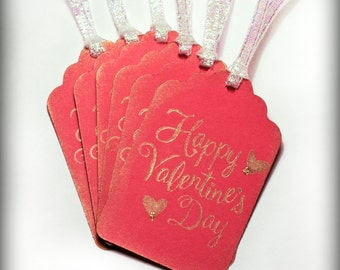 Happy Valentine's Day Tag Set 6 Blank holiday gift present tag love valentines