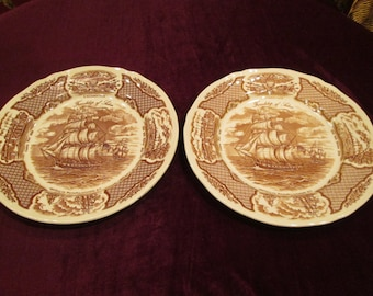 Great Set of Meakin Fair Winds Historical Chinese Export Plates