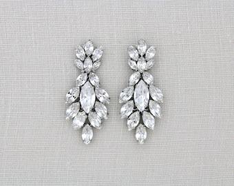 Wedding earrings, Crystal Bridal earrings, Bridal jewelry, Swarovski crystal earrings, Chandelier earrings, Art Deco earrings, Vintage style