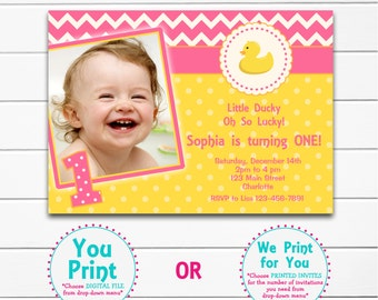 Duck First  Birthday Party Invitation   First Birthday Invitation Baby Duck Invitation