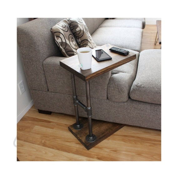 C Shaped Waterfall Acrylic Occasional Side Tray Table On