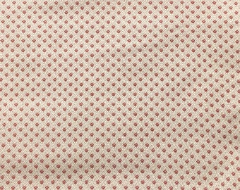 By The HALF YARD - Sara's Stash by Sara Morgan for Blue Hill Fabrics, Pattern #7415-8, Tiny Red Flowers and Dots on Cream