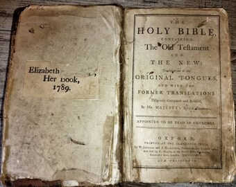 "Holy BIBLE, the old testament and the new. Oxford 1786. Ex libris ""Elizabeth .... 1789"""