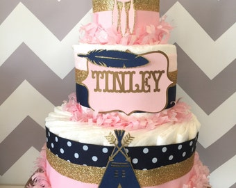 Tribal Diaper Cake in Pink, Navy and Gold, Aztec Baby Shower Centerpiece, Boho