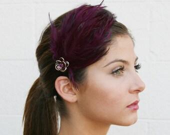 Purple Feather Headband With Swarovski Crystal Flower