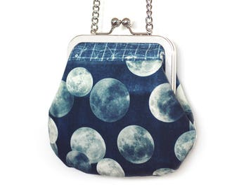 Moon mini cross-body purse with chain handle, blue, white, Harvest full moon bag