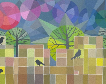 Whatever they Sing art print, Brian Wildsmith inspired, mid-century modern style with rainbow sky and blackbirds