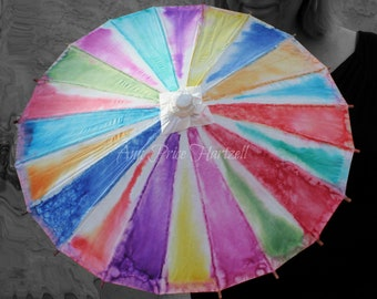 Parasol - Flowergirl Small 20 inch Parasol Rainbow Tie-dyed Parasol