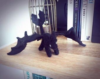 Night Furry |  Needle Felted Tootles  | Night Black - Dragon | Needle Felting Animal | Wool Toys Ooak | Ready to Ship