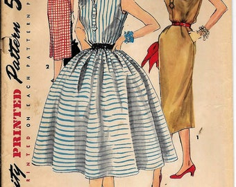 Simplicity 1118 Vintage 1950s Or 1960s Dress Slim Or Full Skirt Sewing Pattern Size 14 Bust 32