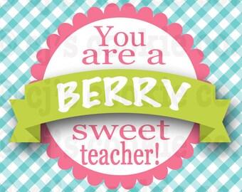 Berry Sweet Teacher Tags
