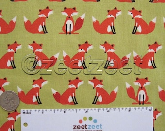 FOX Chartreuse Foxes - Cotton Quilt Fabric - by the Yard, Half Yard, or Fat Quarter Fq Forest Friends