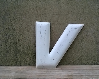 Vintage Metal Gas Station Marquee Letter V Advertising Sign