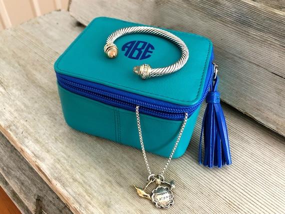 Monogrammed jewelry box personalized jewelry case travel