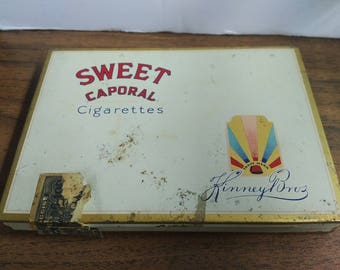 Vintage Sweet Caporal Cigarettes tin with excise stamp