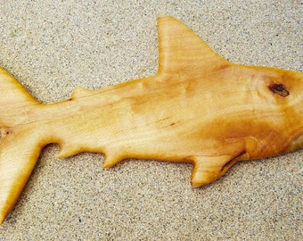 "Hawaiian Shark of Silver Oak - 27"" x 12"" x 1""."