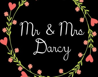 PRINTABLE Mr & Mrs LAST NAME Wedding Date Sign - Custom Printable, 8.5x11""