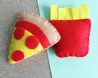 Fast Food Cat Toy, handmade felt cat toy, organic catnip, vegan pet toys, gifts for cats, eco friendly felt, fries cat toy, pizza cat gift