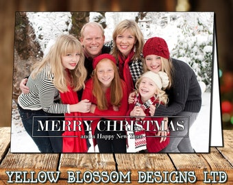 Full Classic 10 Pack Od Photo Personalised Christmas Greeting Cards Boy Girl Twin Family Thank You Note Folded Printed Children Bespoke