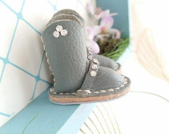 Mini Gray Grey Rhinestone Leather Riding Boots Neo Blythe Azone Pureneemo M S Size Hand Made By MizuSGarden