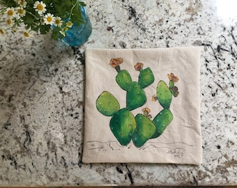 Prickly Pear Pillow--Sage