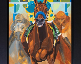 "Triple Crown Winner American Pharoah, Horse Racing Art Giclee Print of Original Painting on Canvas 22"" x 28"" Belmont Stakes Horse Racing Art"