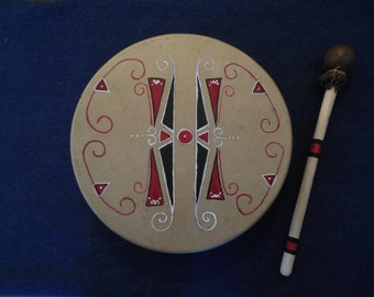 "Native American Inspired ""Pacific Northwest"" drum and drumstick."