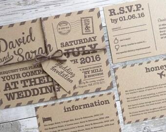 Printable Wedding Invitation, Vintage Postcard Wedding Invitation, Postcard Wedding Invitation, Vintage Wedding Invitation, Digital File