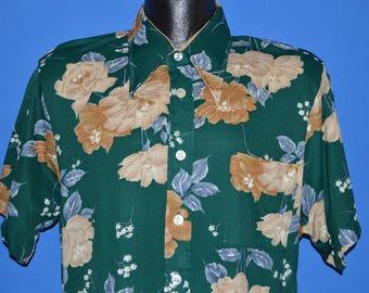 70s Spiegel Green Brown Flowered Disco Shirt Large