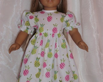 """18 Inch Doll Pineapple Print Short Sleeve Party Dress, 18"""" Doll Clothes, AG Doll Clothes, Girl Doll Clothes"""