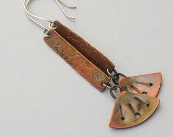 Oxidized Copper Earrings - Boho Earrings - Hammered Copper Earrings - Tribal Earrings - Copper Dangle Earrings - Artisan Earrings