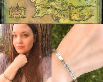 Lord Of The Ring Not All Who Wander Are Lost Silver Cuff Bracelet