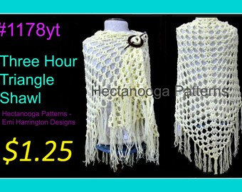CROCHET PATTERN, top down Triangle Shawl, 3 hour shawl, women's clothing, adult S, M, L and Plus size, #1178yt-