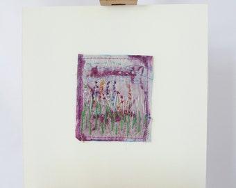 original art work, garden flowers, hand made wall art, teabag flower art, The Hollyhocks