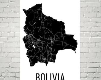 Bolivia Map, Map of Bolivia, Bolivian Art, Bolivia Decor, Bolivia Gift, Bolivia Print, Bolivia Poster, Bolivia Wall Art, Bolivia Map Art