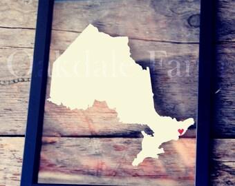 CANADA LOVE 11x14 Map Gift * Custom Framed Handmade Canvas Art * State & City * Moving Birthday Wedding Anniversary Graduation Engagement