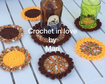 Set 6 coasters Shaker handmade Christmas crochet 1 more