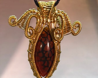 Red Dragons Vein Agate Wire Wrap Pendant