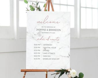 Marble Rose Gold Printable Order Of Events Welcome Sign Template, Event Sign, Custom Wedding Sign, Editable PDF Instant Download #E039