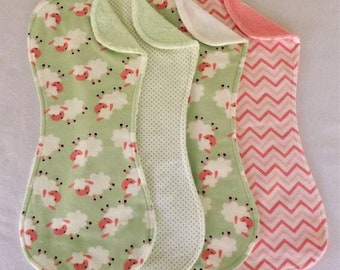 Pink and Green Sheep Burp Cloths in Terry and Flannel