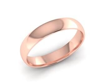 Wedding Band, Rose Gold Wedding Band, 14K Rose Gold Wedding Band, Hand Made Wedding Band, 4.00mm Wide