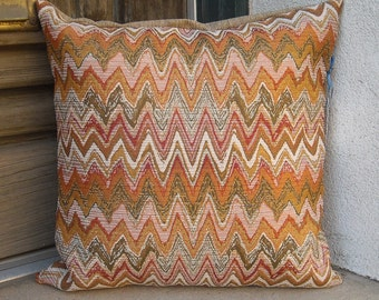"Chevron southwestern pillow cover. Rich upholstery fabric in an assortment of sizes from 16"" to 24""."
