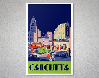 Calcutta Travel Poster - Poster Print, Sticker or Canvas Print / Gift Idea