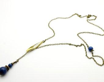 Long necklace Billie sliding blue marble