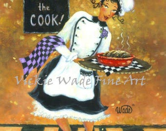 Lady Chef African American Art Print, girl chef, fat chef paintings, woman waitress, female chef, lady cook, kitchen art, Vickie Wade art