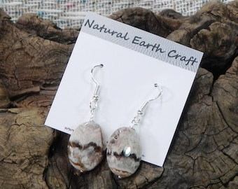 White lilac lace agate earrings semiprecious stone jewelry packaged in a colorful gift bag  2622 A